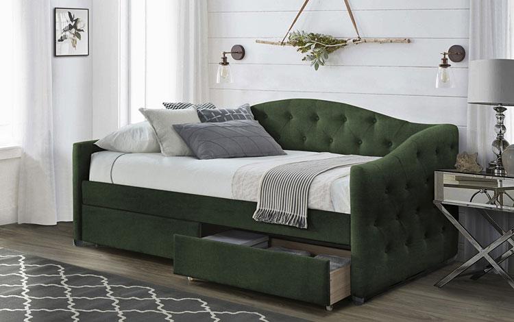 pojedyncze łóżko z szufladami