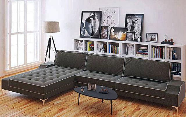 nowoczesna sofa narożna w salonie o niewielkich rozmiarach