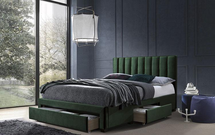podwójne łóżko sypialniane z szufladami
