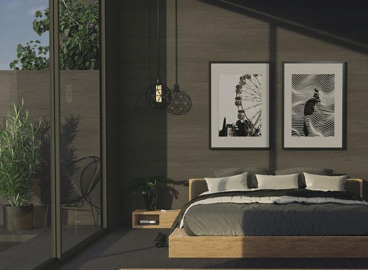 aranżacja ścian sypialni z wykorzystaniem paneli