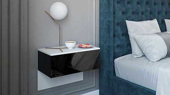 nowoczesna podwieszana lakierowana szafka nocna do łóżka tapicerowanego