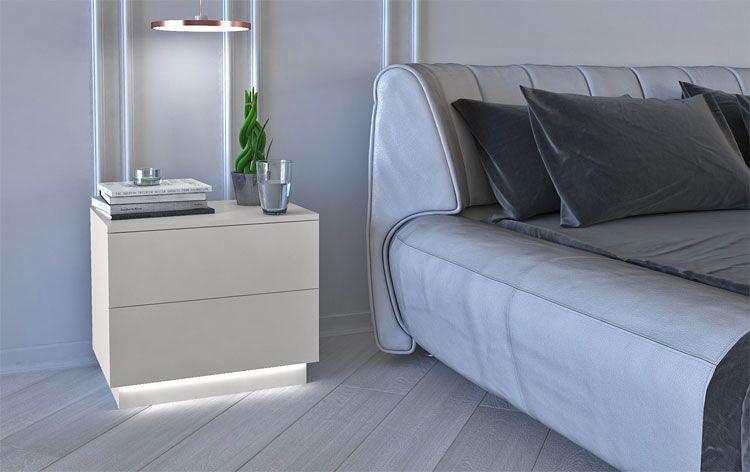 nowoczesna podświetlana białą szafka nocna i tapicerowane łóżko