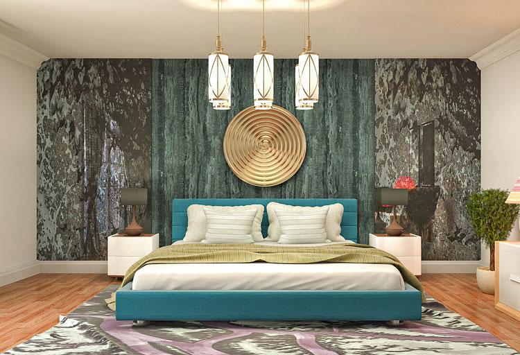 nowoczesna fototapeta na ścianie sypialni za łóżkiem