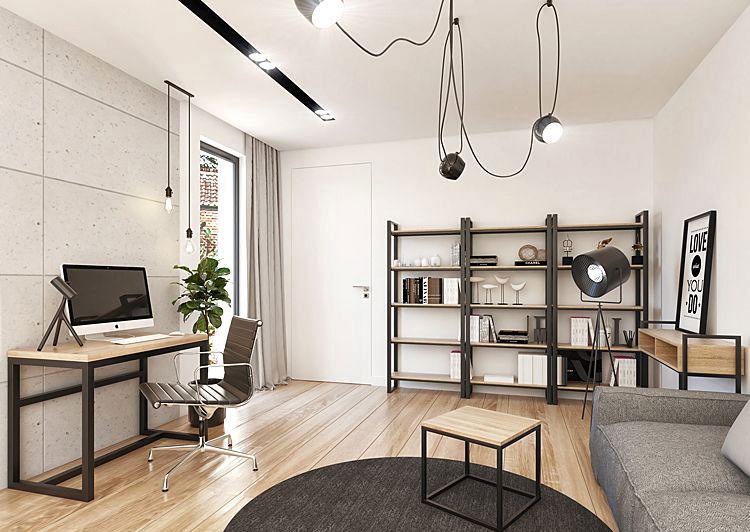 nowoczesny regał w stylu loft pasujący do salonu