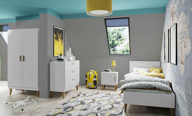 przykładowa aranżacja ścian w sypialni na poddaszu