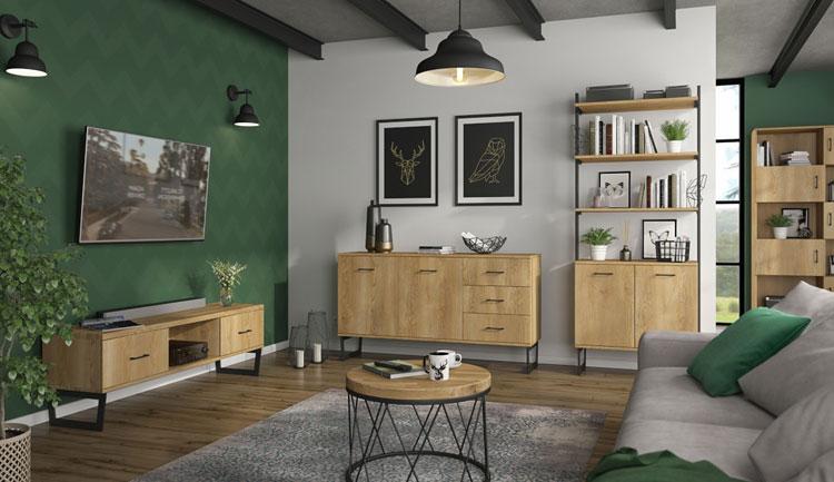zestaw loftowych mebli do salonu