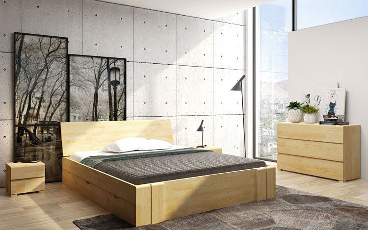 drewniane łóżko w sypialni
